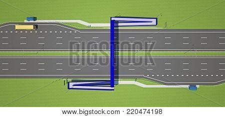 overhead pedestrian crossing over the highway top view. 3d rendering