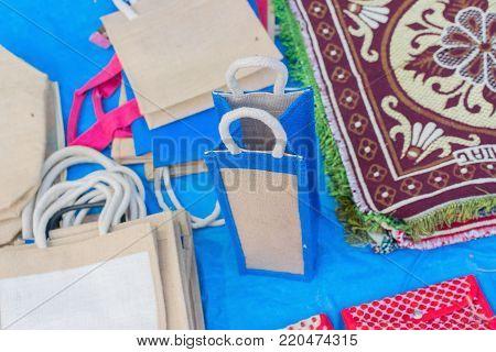 Hand made Jute bags, artworks of handicraft, Handicraft Fair in Kolkata - the biggest handicrafts fair in Asia.
