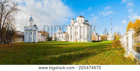 Veliky Novgorod, Russia. Panorama of churches at Yaroslav Courtyard in Veliky Novgorod, Russia. Autumn architecture landscape of Veliky Novgorod Russia landmarks