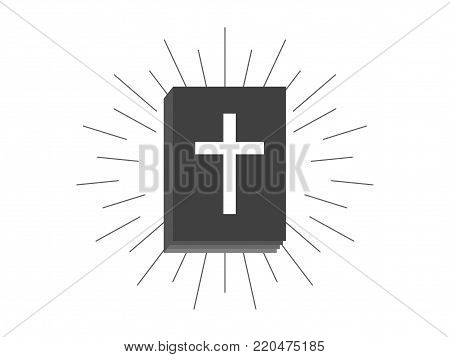 Book of the bible, black silhouette of a book with a cross on a white background and rays. Vector Illusion