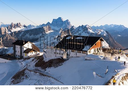 Winter landscape at the Falzarego Pass on the Dolomites in northeastern Italy
