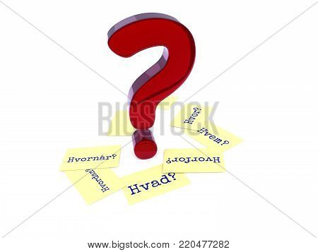 Glossy red question mark, six sticky notes on the ground with the Danish words Why, When, How, Where, What and Who on a white background, 3d rendering
