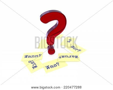 Glossy red question mark, six sticky notes on the ground with the German words Why, When, How, Where, What and Who on a white background, 3d rendering