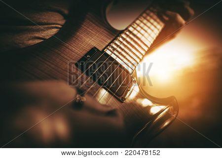 Electric Guitar Performance. Rock Musician Playing Guitar.