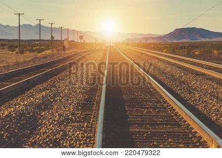 Souther California Railroad Trucks. Mojave Desert. United States of America.