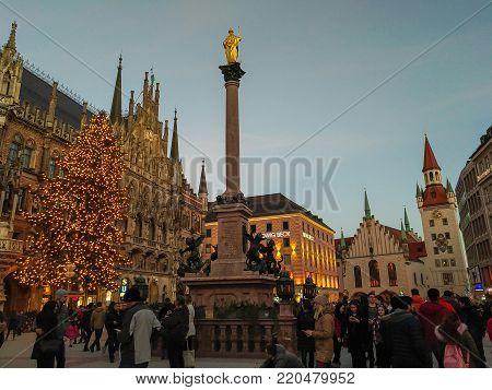 MUNICH, EUROPE - DECEMBER 29, 2017: Christmas tree in the famous marienplatz of Munich, Germany