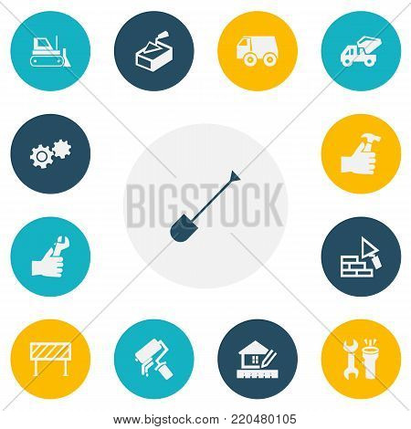 Set of 13 editable construction icons. Includes symbols such as mixer concrete, roadblock, hammer in hand. Can be used for web, mobile, UI and infographic design.