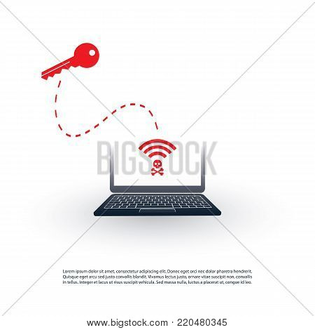 Unsecured Public Wireless Hotspot Design - Wifi Security Breaches, Business Cybercrime Concept - Vector Illustration