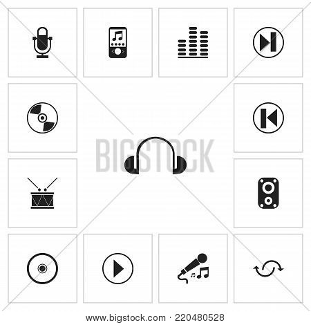 Set of 13 editable multimedia icons. Includes symbols such as mp3 player, mike, volume controlling and more. Can be used for web, mobile, UI and infographic design.