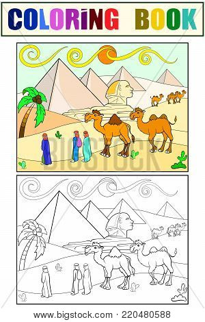 Children coloring vector landscape of Egypt with the pyramids. Black and white line