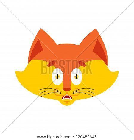 Fox scared OMG avatar. Animal Oh my God emoji. Frightened she-fox. Vector illustration