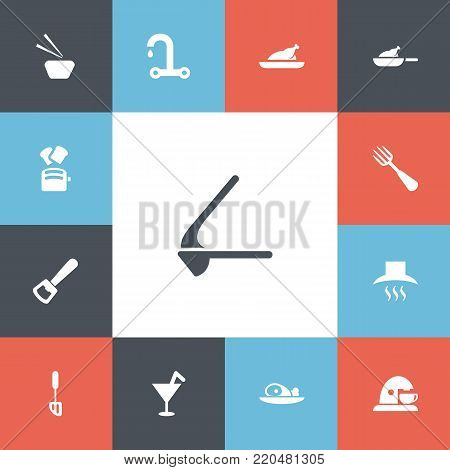Set of 13 editable cooking icons. Includes symbols such as sushi, ham, coffee maker and more. Can be used for web, mobile, UI and infographic design.