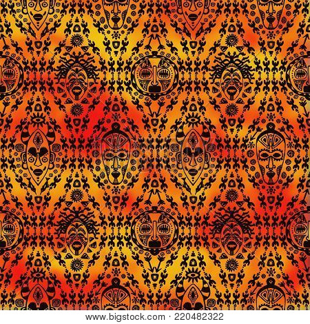 Hand drawn seamless pattern with Tribal mask ethnic. Sketch for your design, wallaper, textile, print. African culture. Fabric afro ornament. Coloful batik art. Black on watercolor orange background