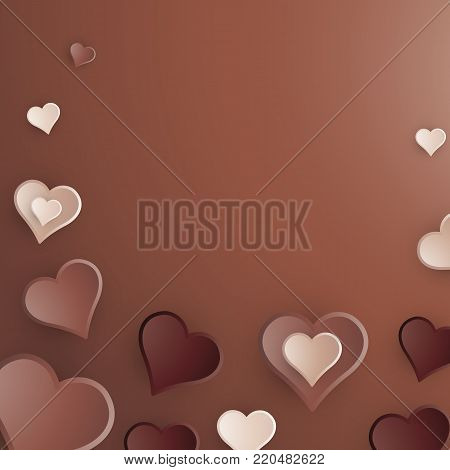 Chocolate Hearts Background  3D Illustration. Ligth Milk and Dark Chocolates for Valentine's Day