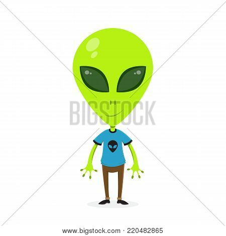 Alien wearing human clothes. Alien cartoon design. Vector stock.