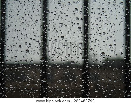 Water drope effect on the window. A typical rainy day