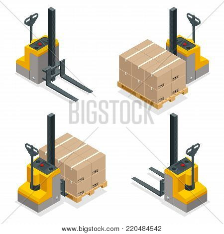 Isometric vector Compact Forklift Trucks isolated on white. Storage equipment icon set. Forklifts in various combinations, storage racks, pallets with goods for infographics