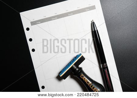 Cancelled Planning, Appointment, Schedule, Meeting Concept. Business Planning Cancelled With Blank C