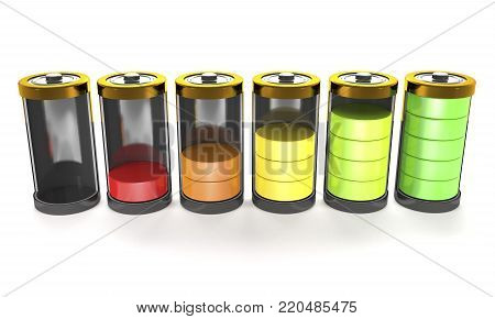Rechargeable batteries with charge level on white background (3d illustration).