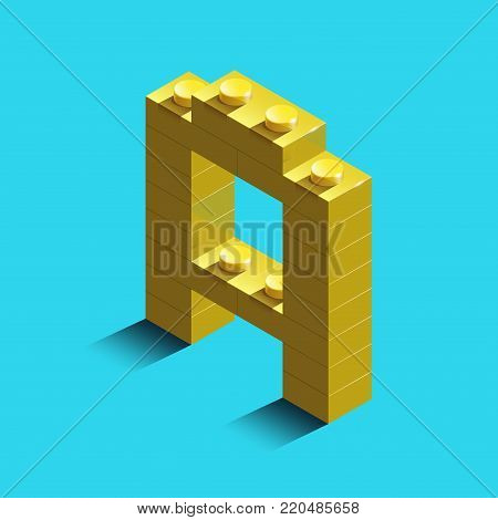 Realistic  gold 3d isometric letter A of the alphabet from constructor bricks. Yellow 3d isometric plastic letter from the building blocks. Colorful character of alphabet letter font.