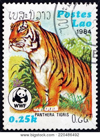 LAOS - CIRCA 1984: a stamp printed in Laos shows tiger, panthera tigris, is the largest cat species, circa 1984