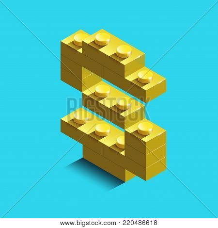 Realistic  gold 3d isometric letter S of the alphabet from constructor bricks. Yellow 3d isometric plastic letter from the building blocks. Colorful character of alphabet letter font. poster