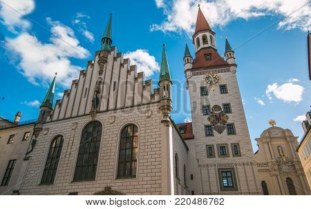 View of old Town Hall (Altes Rathaus) building at Marienplatz in Munich, Germany