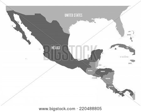 Political map of Central America and Mexico in four shades of grey. Simple flat vector illustration.