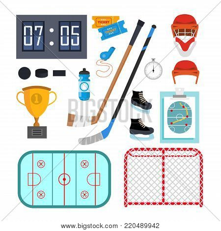 Ice Hockey Icons Set Vector. Ice Hockey Symbols And Accessories. Isolated Flat Illustration