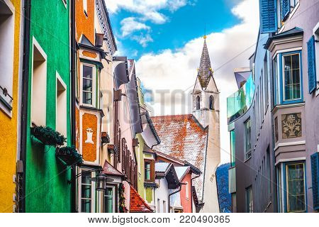 colorful buildings church village of Vipiteno Sterzing - Bolzano Bozen - Trentino Alto Adige South Tyrol region Italy.