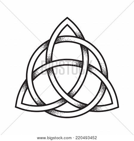 Triquetra or Trinity knot. Hand drawn dot work ancient pagan symbol of eternity and trinity isolated vector illustration. Black work, flash tattoo or print design. poster