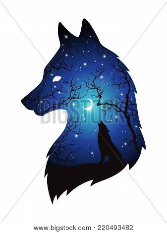 Double Exposure Silhouette Of Wolf In The Night Forest, Blue Sky With Crescent Moon And Stars Isolat