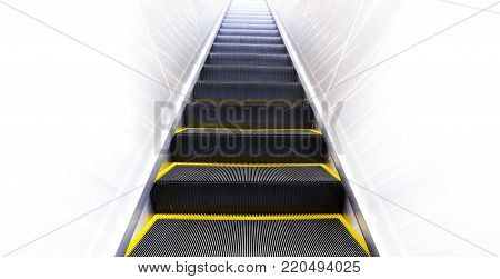 Moving Up Modern Escalator With Yellow Line