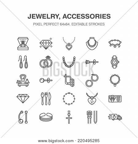 Jewelry flat line icons, jewellery store signs. Jewels accessories - gold engagement rings, gem earrings, silver chain, engraving necklaces, brilliants. Thin signs fashion store. Pixel perfect 64x64.