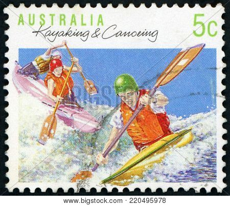AUSTRALIA - CIRCA 1990: A stamp printed in the Australia shows Kayaking and Canoeing, Sport series, circa 1990