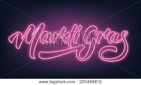 Mardi Gras. Neon Lettering text design Mardi Gras.