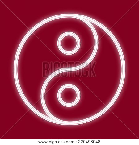 The image of Yin and Yang. Icon with the effect of neon glow. The symbol of the Chinese new year. Vector image.