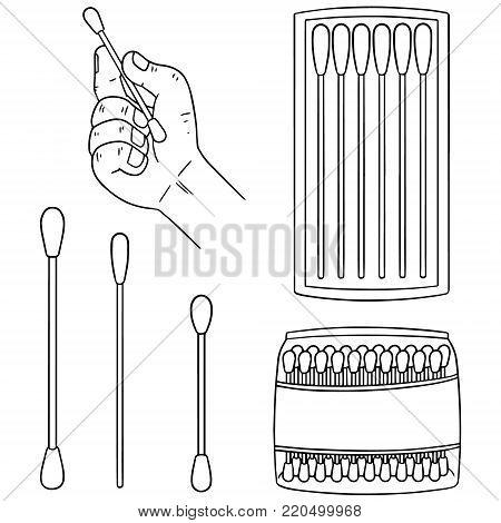 vector set of cotton swab hand drawn cartoon