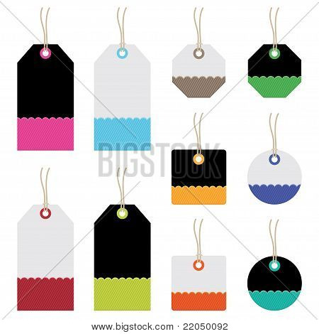 black and white tags with bright elements isolated on white poster