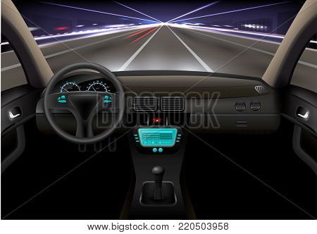 Car on the night street realistic vehicle inside interior vector illustration