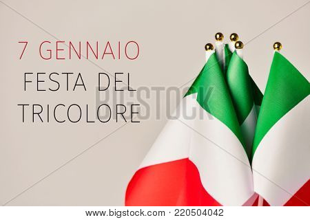 some flags of italy and the text 7 gennaio festa del tricolore, january 7th tricolor day in italian, the day of the italian flag