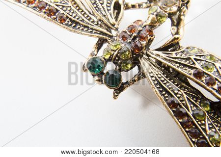 golden butterfly with green emerald eyes decoration brooch
