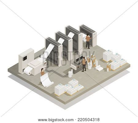 Printing house facility rotary press production process with industrial equipment and operating personnel isometric composition vector illustration