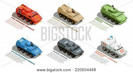 Army military armored vehicles with description isometric images collection with fire emergency and water cannon vector illustration