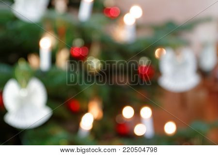 Blurred Background Christmas Tree Decoration with Angels