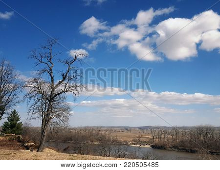 Looking out over the Missouri River from a bluff in Atchison, Kansas on a sunny winter day.