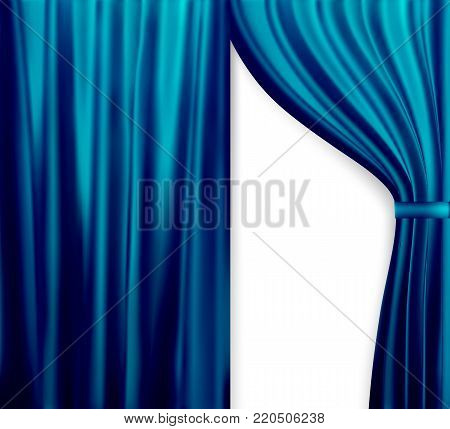 Naturalistic image of Curtain, open curtains Blue color. Vector Illustration. EPS10