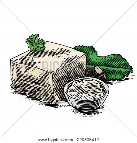 Piece of jellied meat with grated horseradish and fresh parsley and horseradish leaf