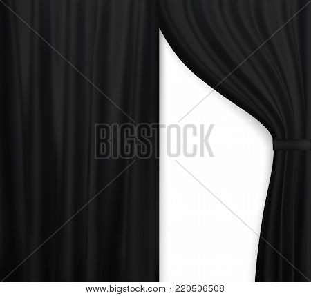 Naturalistic image of Curtain, open curtains Black color. Vector Illustration. EPS10