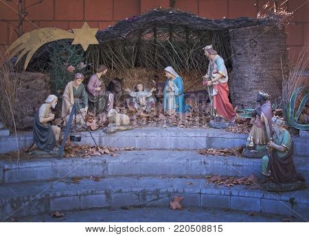 MALAGA, SPAIN - DECEMBER 19, 2017: Christmas nativity scene in Jardin de la Concepcion on December 19, 2017 in Malaga, Spain
